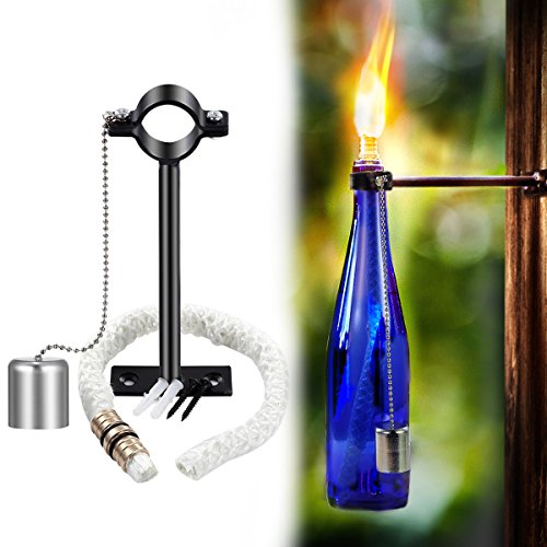LANMU Wine Bottle Tiki Torch,Bottle Torch,DIY Home Decor Kit,Tiki Bar Lighting,Glass Bottle Light for Wine Bottles (Lighting Torch Wall)