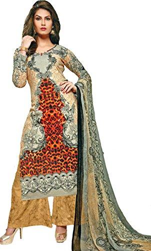 Exotic India Apricot-Gelato Digital-Printed Trouser Salwar Kameez Suit w - Beige Size Large (Kameez Trouser)