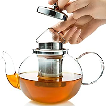 Stovetop Safe Tea Kettle, Glass Teapot with Infuser Set with Extra Blooming Tea, Loose Leaf Tea Double Wall Cups, Removable Stainless Steel Strainer, Microwave, Dishwasher Safe, Tea Maker, Tea Pot
