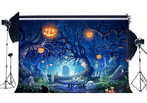 (SZZWY 7X5FT/210X150cm Happy Halloween Backdrop Horror Night Pumpkin Lamps Old Tree Branch Scary Tombstone Vinyl Photography Background Kids Adults Masquerade Cosplay Photo Studio Props)
