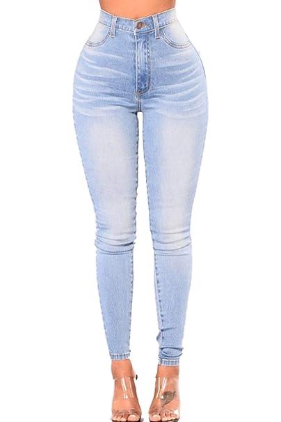 Yacun Skinny Jeans Slim Femme Taille Haute Crayon Pantalon Denim   Amazon.fr  Vêtements et accessoires 6f8da9a00f65