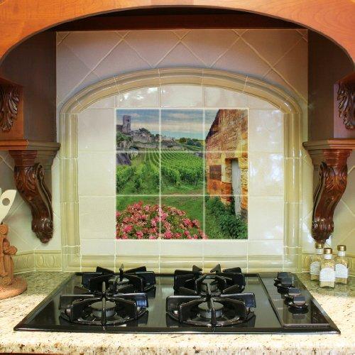 [Kitchen Backsplash Ceramic Tile - Cobblestone in Bordeaux Vineyard - Nine 4.25