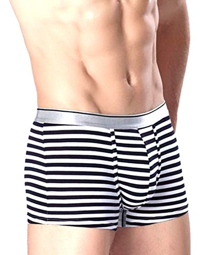 Papijam Men Striped Print Cotton Breathable Boxer Briefs Swim Trunks White M (Striped Rugby Boxer)