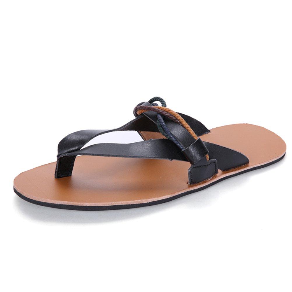 HUAN Männer Sommer Durable Gummi Strand Hausschuhe  Flip Flop Atmungsaktive Sandalen Weiß  Schwarz  Braun Black