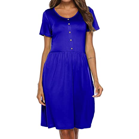 Blue Satin Short Sleeve Solid Dress