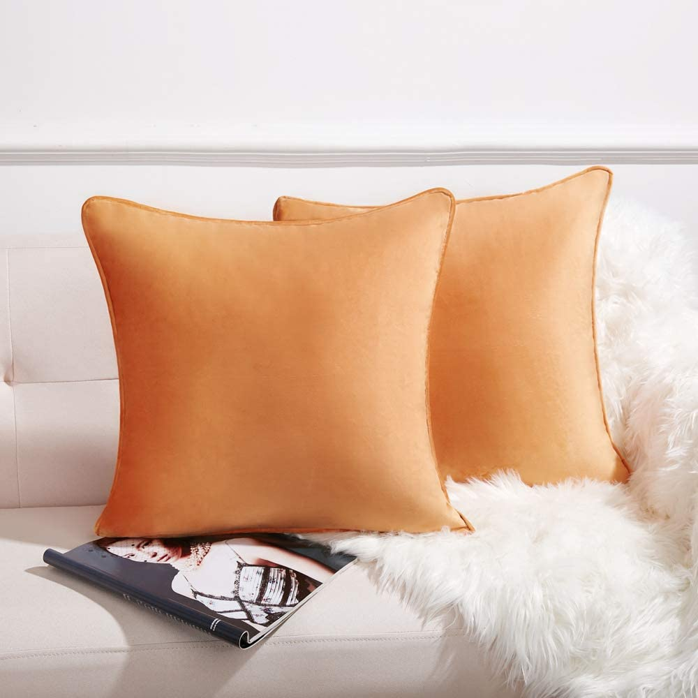 Anickal Set of 2 Orange Fall Velvet Pillow Covers Decorative Square Throw Pillow Covers 20x20 Inch for Sofa Couch Decoration