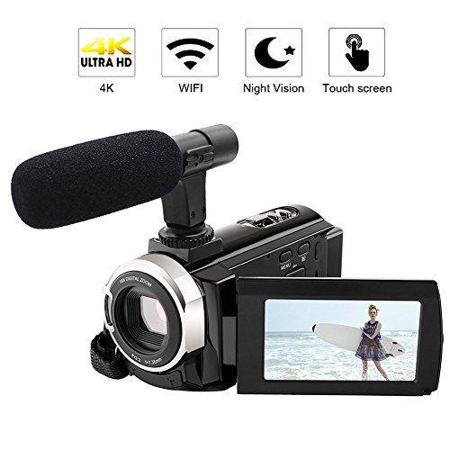4K Camcorder with Microphone Ultra-HD 48MP Digital Camera 3.0 Touch Screen Function WiFi Digital Video Camera IR Night Vision Camcorder