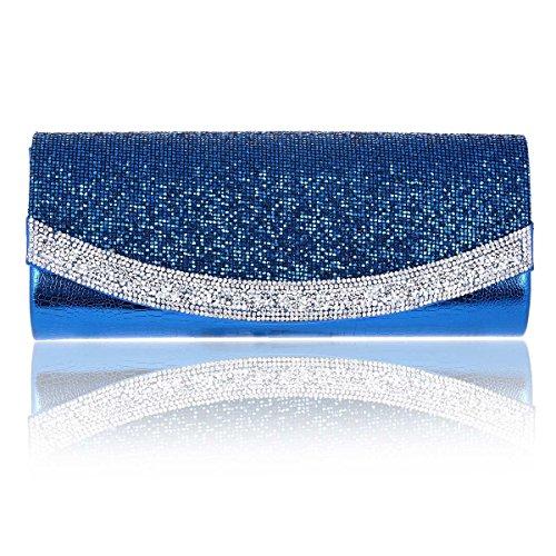 Damara Brillante Bolso De Noche Boda Mujeres Cartera De Embrague Teléfono,Azul Azul