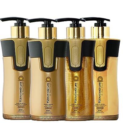 Keratin Cure 0% Formaldehyde Bio-Brazilian Hair Treatment Gold & Honey 10.14 oz 4 piece Kit 300 ML Safe for all