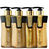 Keratin Cure Best Treatment Gold and Honey Bio 10 Oz 4 Piece Kit Soft Hair Formaldehyde Free Professional Complex with Argan Oil Nourishing Straightening Damaged Dry Frizzy Coarse Curly Wavy Hair