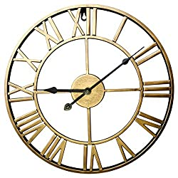 XSHION Large Decorative Wall Clock,24 Inch Retro Roman Numerals Metal Clock Silent Wall Clock Battery Operated Wall Clock for Office Living Room Decor - Golden
