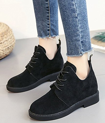 Booties Black Casual Women's Ankle Lace Aisun Suede Up Faux 8nW0RH