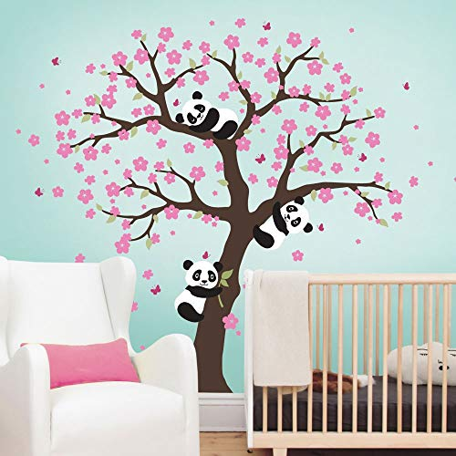 Cherry Tattoo (224cm Tall Tree Tattoo Panda and Cherry Blossom Tree Wall Decal for Nursery Large Tree Wall Stickers for Kids Room Girl Boy Room Decor Sticker A400)