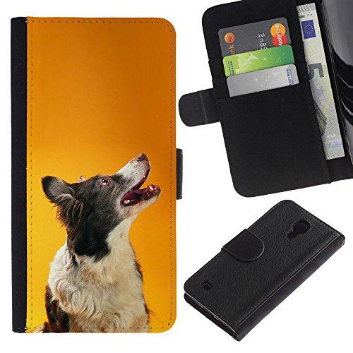 EuroCase - Samsung Galaxy S4 IV I9500 - border collie orange smart dog canine - Cuero PU Delgado caso cubierta Shell Armor Funda Case Cover