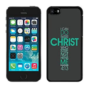 Iphone 5c TPU Case Bible Philippians Jesus Christ Christian Cross Best Gifts Black Soft Cover Mobile Phone Accessories
