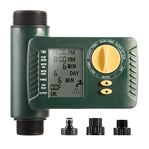 Outdoor Digital Programmable Hose Faucet Timer for Irrigation with Single Outlet & Rain Delay by Brightown
