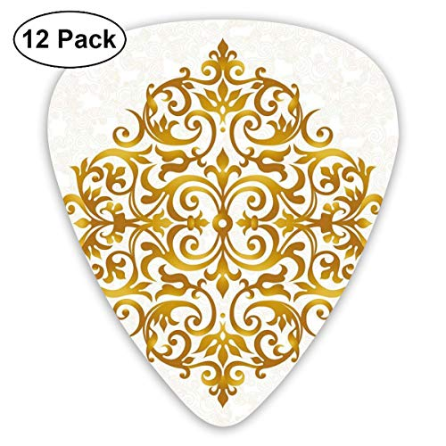 Celluloid Guitar Picks - 12 Pack,Abstract Art Colorful Designs,Victorian Style Traditional Filigree Inspired Royal Oriental Classic Print,For Bass Electric & Acoustic Guitars. ()