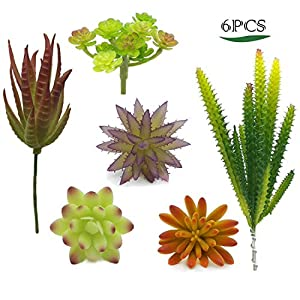Artificial Succulent Plants & Flowers, Mixed Unpotted Fake Artificial Succulents Picks, Succulent Bouquet Aloe Agave Faux Succulent Floral Arrangement for Home Decor Indoor Wall Garden DIY Decorations 1