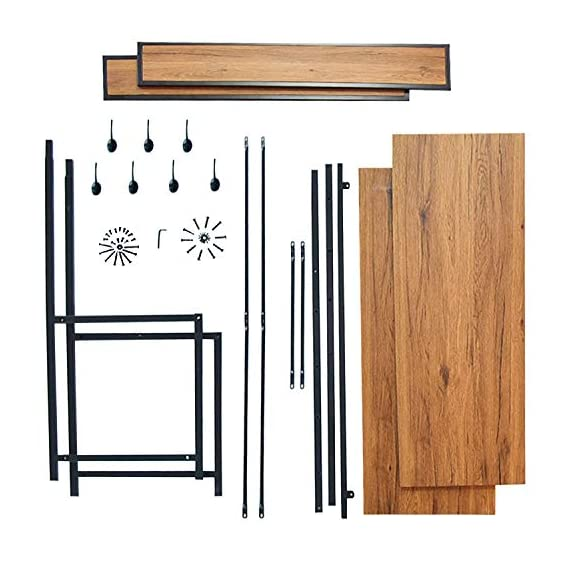 charaHOME Coat Rack with Storage,Free Standing Industrial Clothes Rack,Entryway Organizer Hall Tree,Entryway Bench with Coat Rack with 2 Environmental P2 MDF Board Multifunctional,Sturdy Metal -  - hall-trees, entryway-furniture-decor, entryway-laundry-room - 51kSOX9qqNL. SS570  -