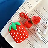 BONTOUJOUR AirPods Case, Super Cute Creative Fun Fruit Serie Red Strawberry Shape TPU Silicone Cover Protective Skin for Apple AirPods+Finger Lanyard-Strawberry