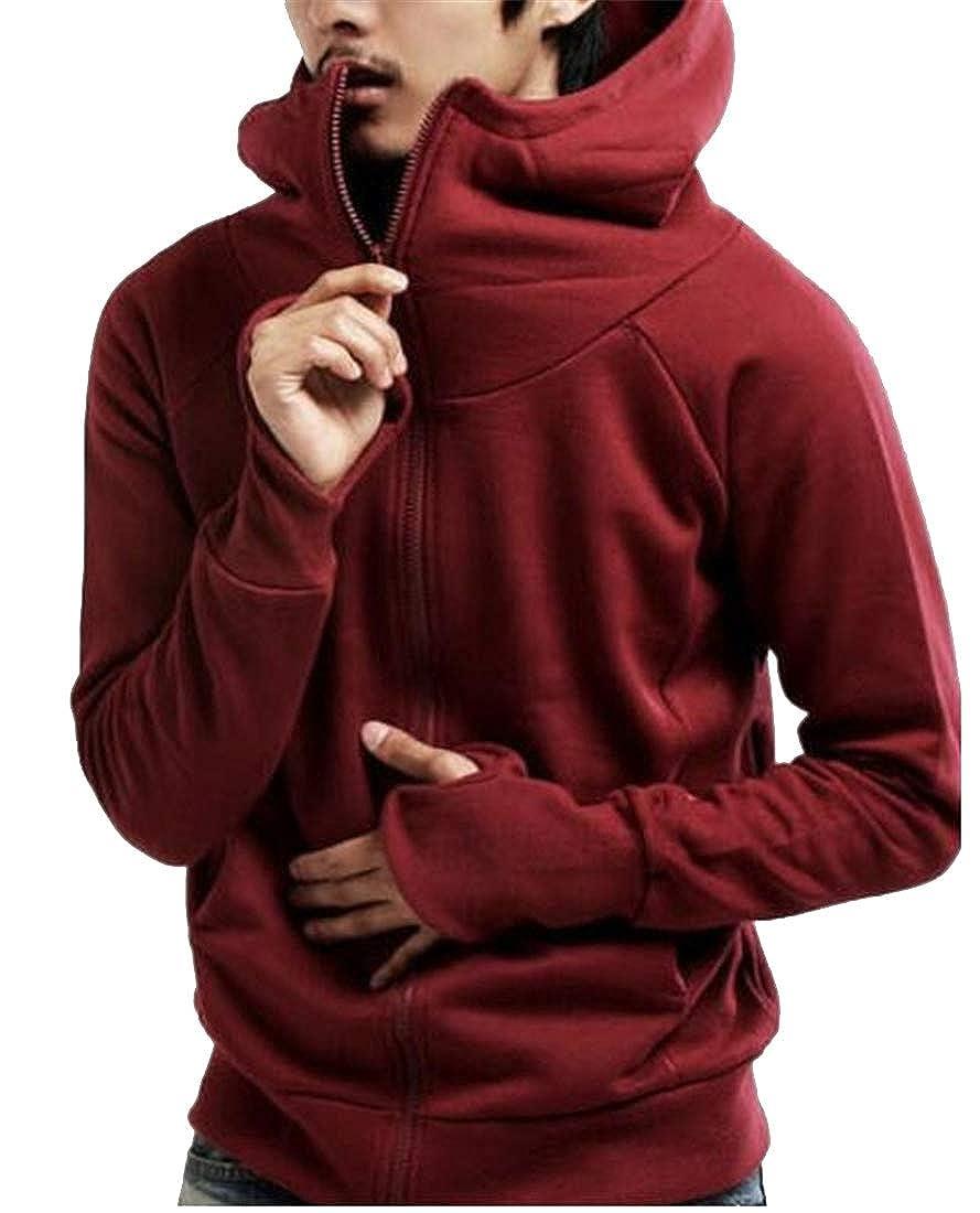 MK988 Men Zip Up Solid Thumb Hole Hooded Sweatshirts Jacket Coat