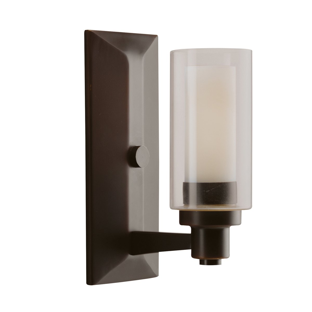 Kichler brushed nickel wall mt 1lt incandescent kichler brushed nickel - Kichler Lighting 6144ni Circolo 1 Light Wall Sconce Brushed Nickel With Clear Glass Cylinders And Satin Etched Inner Cylinders Amazon Com
