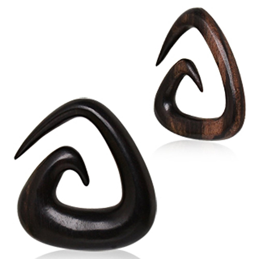 Covet Jewelry Organic Sono Wood Triangle Shaped Spiral Taper (0GA) by Covet Jewelry