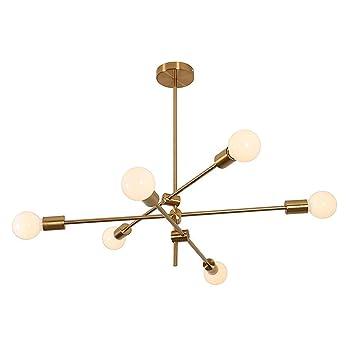 MYKMY-LIGHTING Sputnik Chandelier Moderno Lámpara de Techo de 6 Cabezales Lámpara de Techo Lámpara Colgante Montaje al RAS para comedores Salón ...