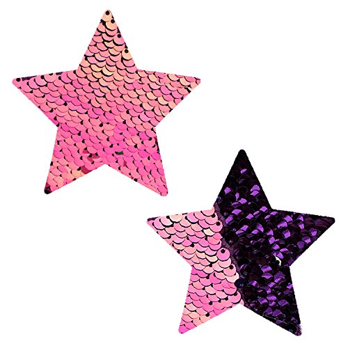 Neva Nude My Lil Pony Pink Iridescent Purple Flip Sequin Star Nipztix Pasties Nipple Covers -