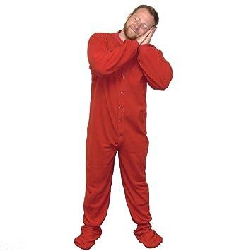 Rojo Jersey de punto Adulto pies pijamas Footie gota Asiento para mujer para hombre pijama cómodo