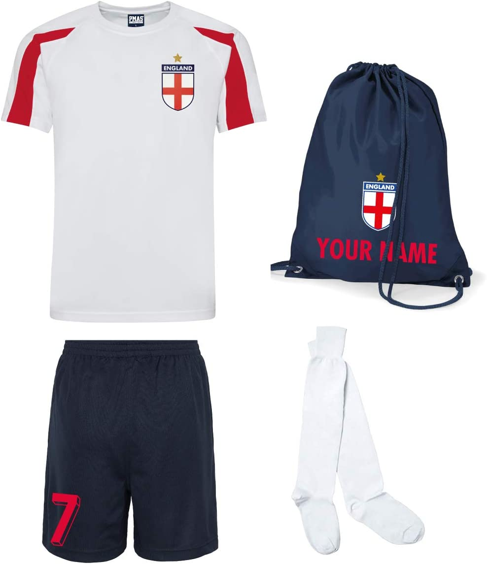 Print Me A Shirt Kit del Equipo de Inglaterra Personalizable para Ninos con Camiseta de Futbol, Pantalones Corto, Calcetines e Bolsa.: Amazon.es: Deportes y aire libre