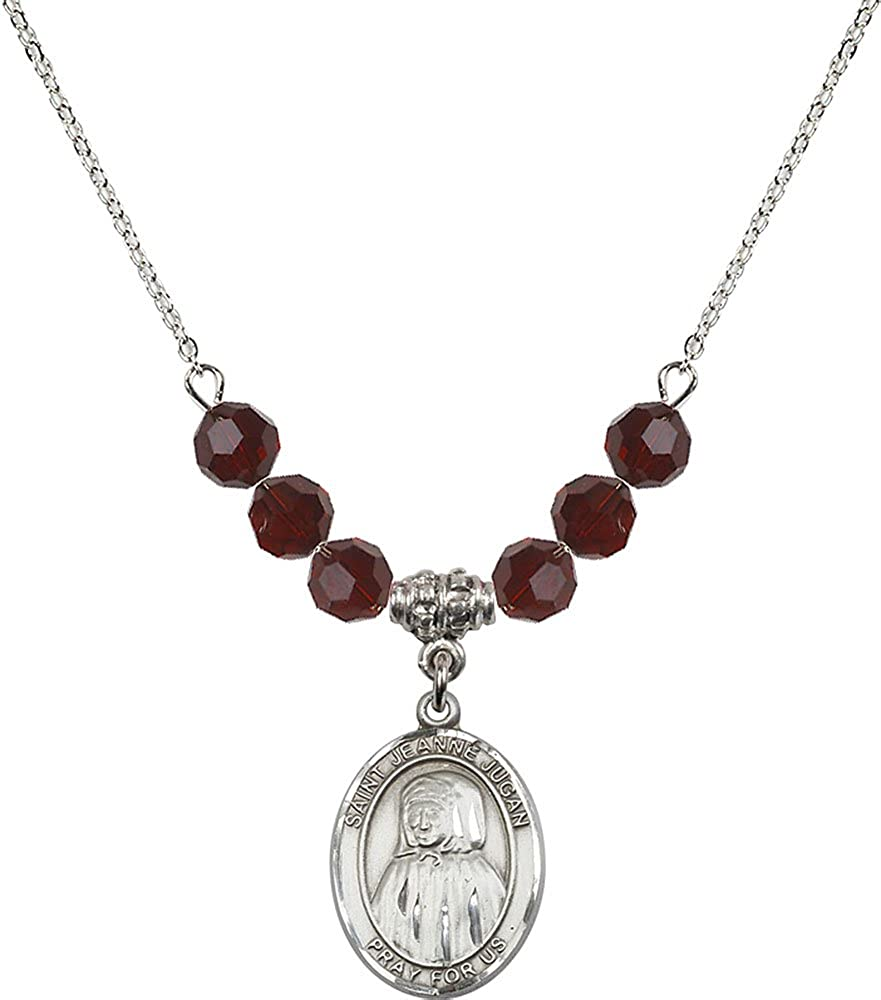 18-Inch Rhodium Plated Necklace with 6mm Garnet Birthstone Beads and Sterling Silver Saint Jeanne Jugan Charm.
