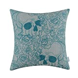 CaliTime Canvas Throw Pillow Case Shell Couch Bed Home Decoration Halloween Roses Floral Skull 18 X 18 inches Teal Grey