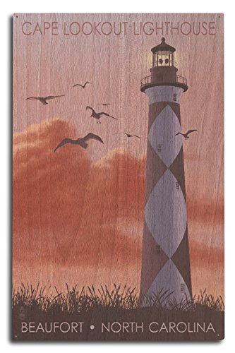 Lantern Press Beaufort, North Carolina - Cape Lookout Lighthouse and Sunrise (10x15 Wood Wall Sign, Wall Decor Ready to Hang)
