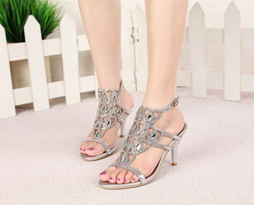 for Sandals Female amp; Party Summer Women's Leather Dress Fall Silver High Evening Heel Grade Wedding Shoes Crystal Stiletto Comfort Sandals Rhinestone vwzg6w
