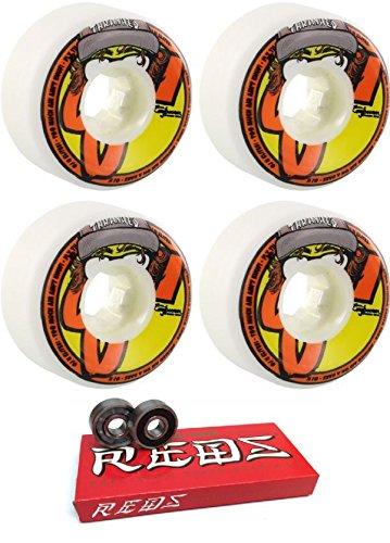 排他的ぎこちないトロリーバスOJ Wheels 54 mm InsaneathaneスケートボードWheels with Bones Bearings – 8 mmスケートボードベアリングBones Super Redsスケート定格 – 2アイテムのバンドル