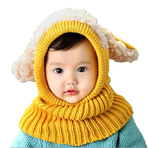 [Koolee Winter Baby Kids Girls Boys Warm Woolen Coif Hood Scarf Caps Hats Cute Knitted Hat (Yellow)] (Making Elf Costume)