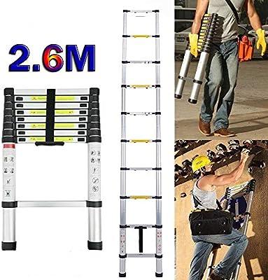 Escalera telescópica de 2,6 m, de aluminio, ligera, extensible, 150 kg de carga máxima, certificado EN131, portátil, fácil de transportar: Amazon.es: Bricolaje y herramientas