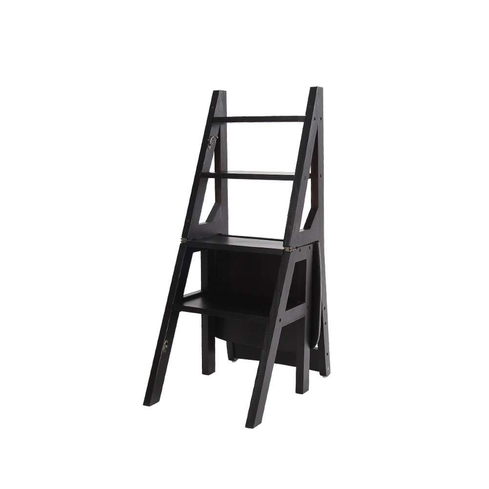 36x38x88.5cm(black) Folding Steps - Stepladders Solid Wood Step Stool Foldable Ladder Multifunction Flower Stand Household Shelf Ladder (color   36X38X88.5CM(White))