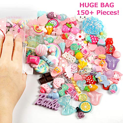 Cute Slime Charms Mixed Assorted Fruit Sweets for Candy Hair Clips, DIY Craft Making, Ornament Scrapbooking (150pcs)