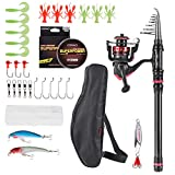 CAPACI Fishing Rod Reel Combos Carbon Fiber Protable Telescopic Fishing Pole with Full