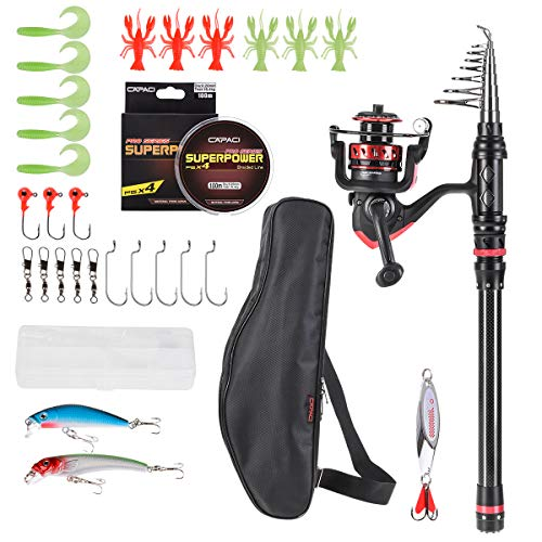 CAPACI Fishing Rod Reel Combos Carbon Fiber Protable Telescopic Fishing Pole with Full kits Carrier Bag for Travel Saltwater Freshwater (Rod and Reel Combo with Full Kits and Carrier Bag, 2.1m/6.89ft) (Best Freshwater Fishing Pole)