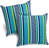 Cheap Blazing Needles Indoor/Outdoor Spun Poly 20-Inch by 20-Inch by 6-Inch Throw Pillow, Pike Azure, Set of 2