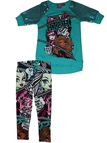 Monster High Big Girls Frankie Stein Legging & Shirt Clothing Set (XS(4/5)) (Monsters Inc Clothes For Girls compare prices)