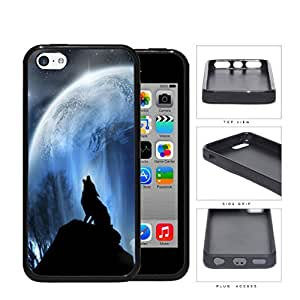 Wolf Howling On Hilltop With Full Moon Rubber Silicone pc Cell Phone Case Apple iPhone 5c