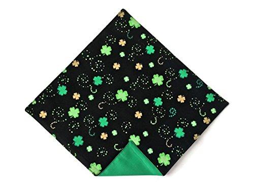 Irish Wedding Handkerchief (Men's St. Patrick's Handkerchief Black & Green Shamrocks Pocket Square (Mens))