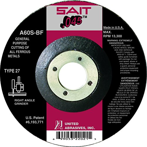 United Abrasives-SAIT 22047 Type 42/27 6-Inch x .045 Inch x 7/8-Inch Grade A60S General Purpose Depress Center Cutting Wheels, 50-Pack