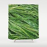 Custom Shower Curtain | Designer Shower Curtain | Green Grass Print Shower Curtain | Whimsical Custom Bath Decor | New Home Gift | Green | Extra Long Shower Curtain