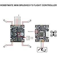 HOBBYMATE Brushed F3 Mini Flight Controller for Micro FPV Quadcopter Support 1-2S lipo, Compatible DSM2/DSMX S.Bus PPM Radio Receiver