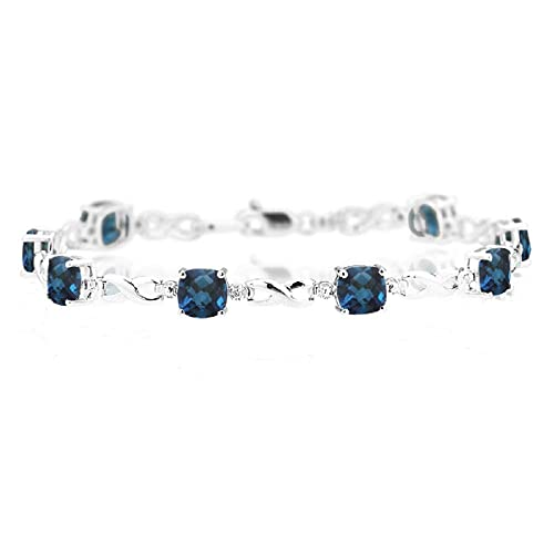 Amazon.com: 0.01 cts Diamond & 7,12 cts London Blue Topaz ...